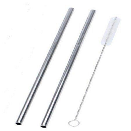 Canudo de Metal Inox - 2 Unidades + Limpador