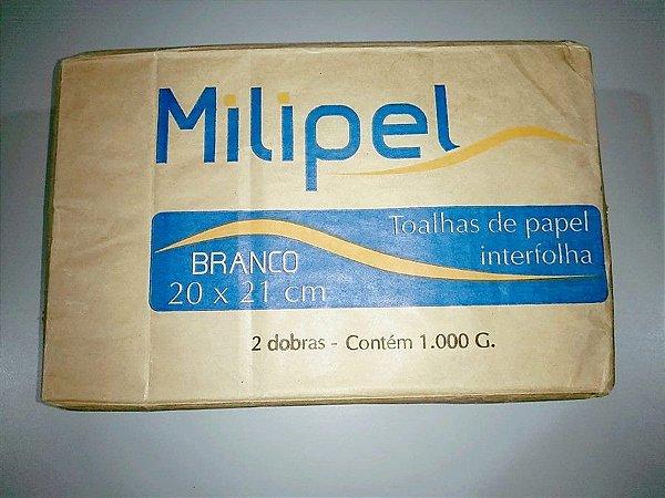 Toalha de Papel Milipel Branca 20cmx21cm 1000 Gramas Unidade
