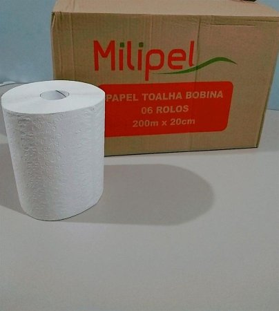 Toalha de Papel Milipel Bobina Premium Celulose 200 Metros Com 6 Rolos