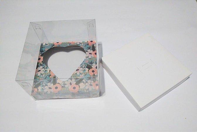 Caixa Ovo de Colher Formato Coração 200 Gramas Base Branca + Berço Floral Azul Tiffany + Acetato Transparente 14cm x 14cm x 9cm R.cxdpasc211213 Unidade