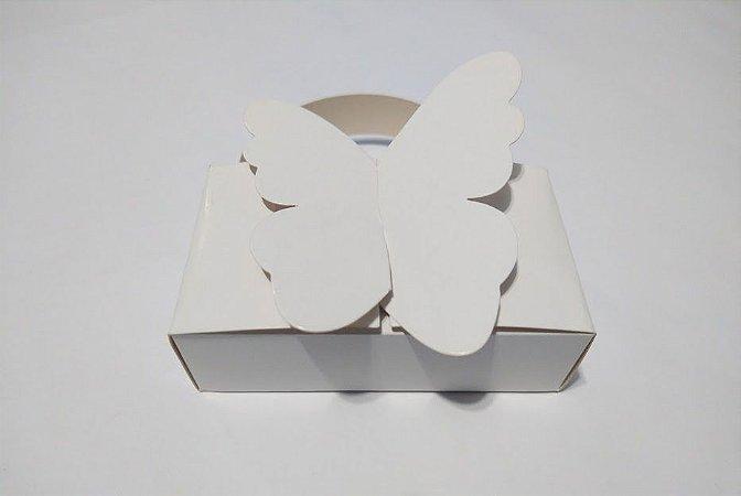 Mini Caixa Branca Borboleta Para 10 Chocolates Bis 9cm x 5cm x 2,5cm Unidade