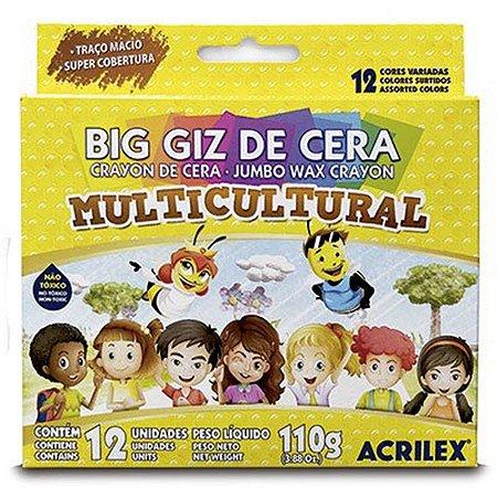 Giz de Cera Acrilex Multicultural 110 Gramas R.09122 Com 12 Cores