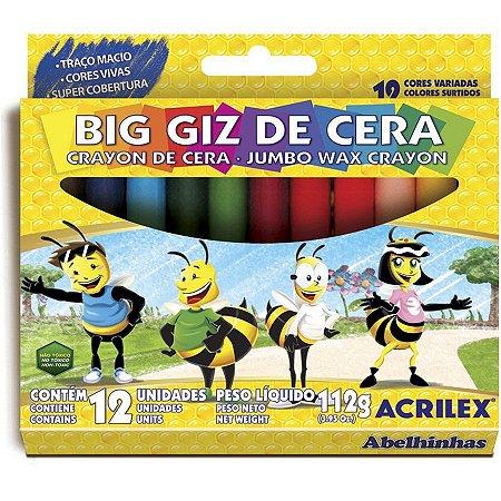 Giz de Cera Acrilex Gizao 112 Gramas R.09111 Com 12 Cores