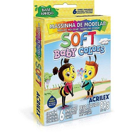 Massinha de Modelar Acrilex Baby Colors 90 Gramas R.07370000 Com 6 Cores