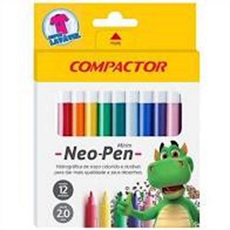Caneta Hidrocor Neo Pen Mirim Compactor Com 12 Cores