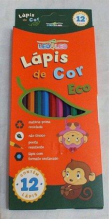 Lápis de Cor Ecológico Leoleo Sextavado R.4220 Com 12 Cores