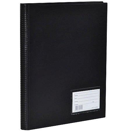 Pasta Catálogo Com Visor Polibrás Preta Com 100 Envelopes R.60404 Unidade