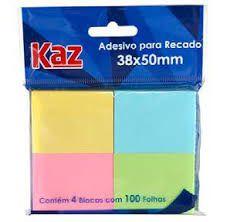 Adesivo Para Recado Kaz Cores 38X50 4Blx100 Folhas R.Kz2005C Unidade