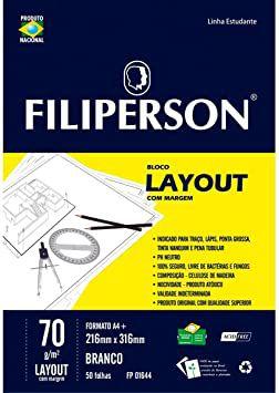 Bloco Escolar Com Margem Filiperson Layout Branco A4 70Gr R.Fp01644 Com 50 Folhas
