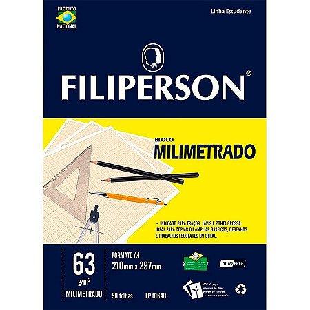 Bloco Escolar Milimetrado Filiperson A4 63Gr R.01640 Com 50