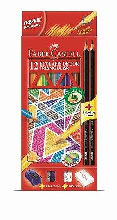 Ecolapis Cor Faber Castell Triangular Kit Esc Com 12 R.120512+2N