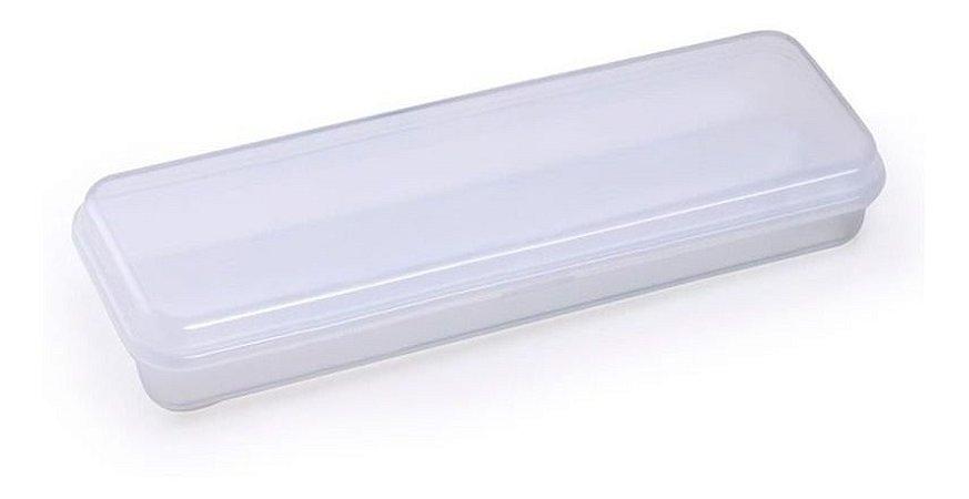 Estojo Plástico Waleu Transparente 20cm x 6cm 3cm Unidade
