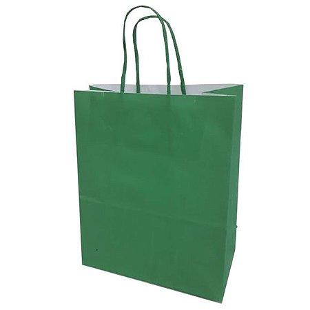 Sacola de Papel Verde Escuro 18cmx09cmx22cm Pacote Com 10
