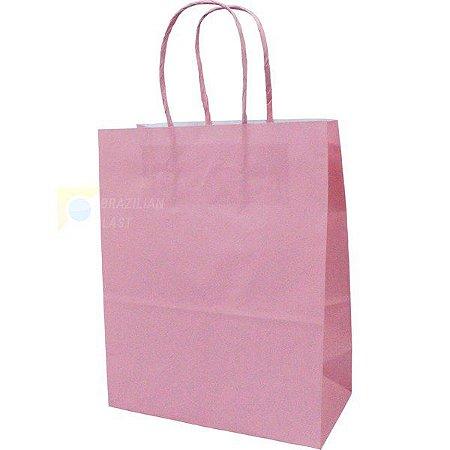 Sacola de Papel Rosa Bebe 18cmx09cmx22cm Pacote Com 10