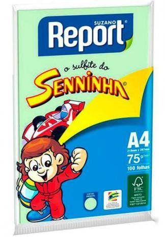 Papel A4 Report Verde Seninha Com 100