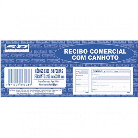 Recibo Comercial Sao Domingos Com Canhoto 20cm x 9cm R.63289 Com 50 Folhas