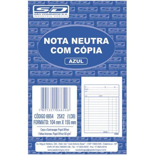 Talão Nota Neutra 1/36 2 Vias Sao Domingos 25 Folhas R.6654