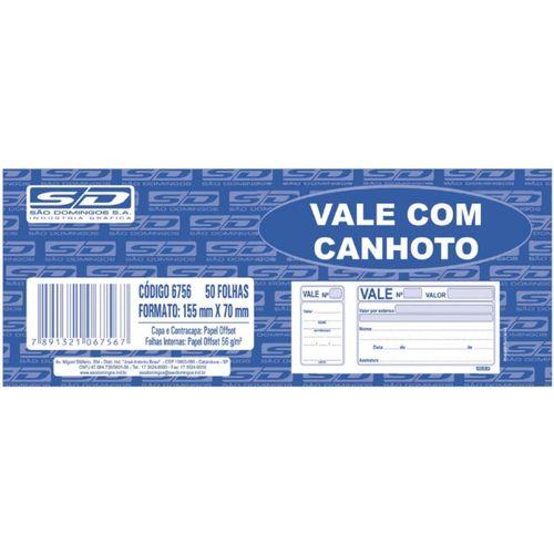 Vale Com Canhoto São Domingos 15cm x 7cm Com 50 Folhas Unidade