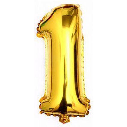 Balao Metalizado  Número 1 Ouro 75Cm Unidade