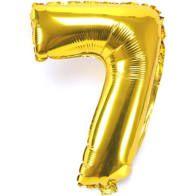 Balão Metalizado Número 7 Ouro 40Cm Unidade