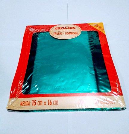 Embalagem Para Bombom Cromus Turquesa 15X16 Com 100