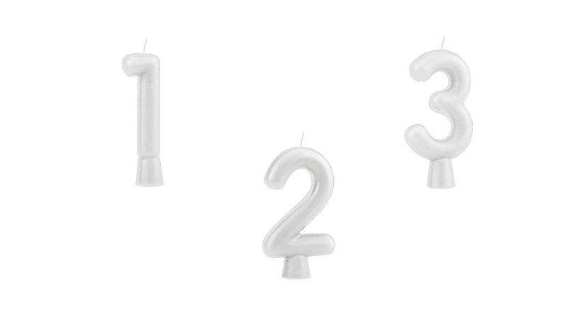 Vela de Aniversário Regina Solid Colors Números Cor Branca Unidade