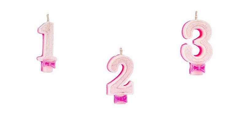 Vela de Aniversário Regina Números Com Glitter Cor Rosa Unidade