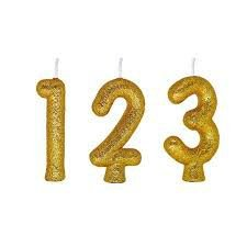 Vela de Aniversário Regina Números Cintilante Cor Dourada Unidade