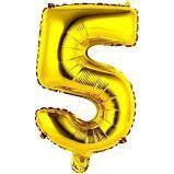 Balão Metalizado Número 5 Ouro 40cm Unidade