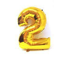 Balão Metalizado Número 2 Ouro 40cm Unidade