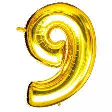 Balão Metalizado Número 9 Ouro 75cm Unidade