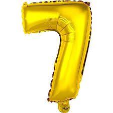 Balão Metalizado Número 7 Ouro 75cm Unidade