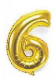 Balão Metalizado Número 6 Ouro 75cm Unidade