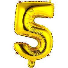 Balão Metalizado Número 5 Ouro 75cm Unidade