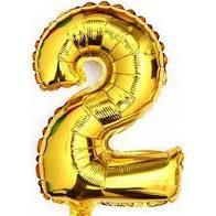 Balão Metalizado Número 2 Ouro 75cm Unidade
