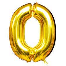 Balão Metalizado Número 0 Ouro 75cm Unidade