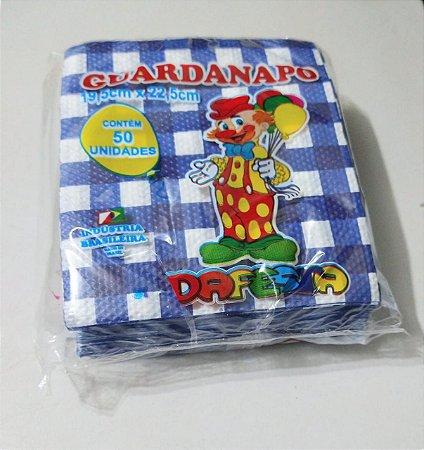 Guardanapo Dafesta Xadrez Cor Azul Escuro 20cm x 23cm Pacote Com 50