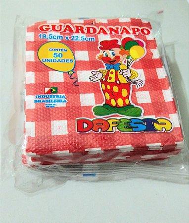 Guardanapo  Dafesta Xadrez Vermelho 19,5cm x 22,5cm Pacote com 50