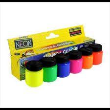 Tinta Guache Acrilex Cores Neon Estojo Com 6