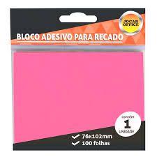 Bloco Adesivo para Recado Jocar Cor Rosa 76mmx102mm R.91123 Com 100 Folhas