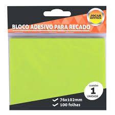 Bloco Adesivo para Recado Jocar Cor Verde 76mmx102mm R.91125 Com 100 Folhas