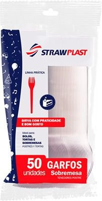 Garfo Sobremesa Strawplast Branco Pacote Com 50