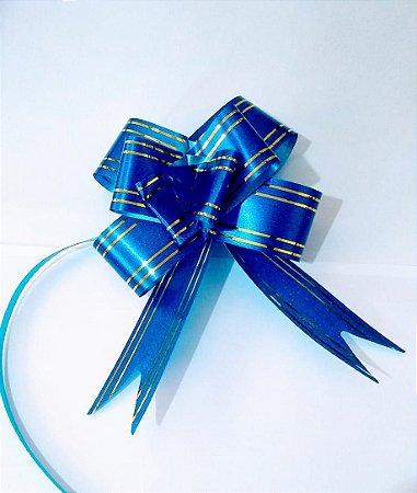 Laço Fácil Azul Com Bordas Listras Ouro 18mm (1,8cm x 34cmUnidade R.254200