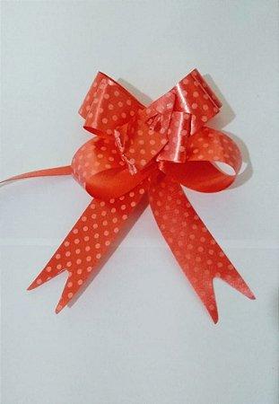 Laço Fácil Vermelho Com Bolinhas Brancas 18mm (1,8cm x 34cm) R.2541101 Unidade