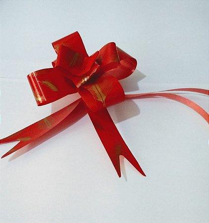 Laço Fácil Fantasia Vermelho/Penas Ouro 18mm (1,8cm x 34cm) R.254301 Unidade