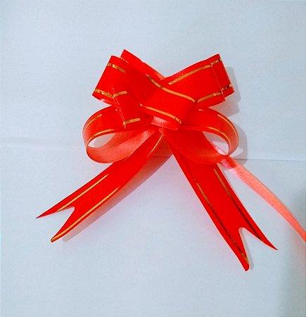 Laço Fácil Vermelho Bordas Listras Ouro 18mm (1,8cm x 34cm) Vermelho R.254201 Unidade