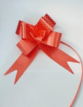 Laço Fácil Fantasia Vermelho Com Bolinhas Brancas 30mm (3cm x 48cm) R.2551801 Unidade
