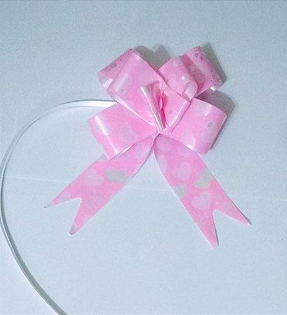 Laço Fácil Fantasia Rosa Com Corações Rosa e Branco 30mm (3cm x 48cm) R.255307 Unidade