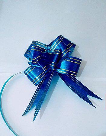 Laço Fácil Azul Com Bordas Listras Ouro 30mm (3cm x 48cm) R.255200 Unidade