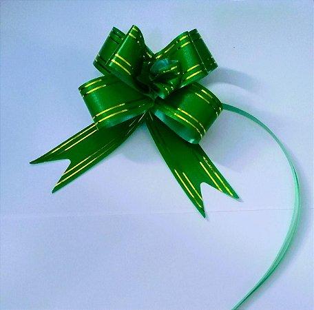 Laço Fácil Verde Com Bordas Listras Ouro 30mm (3cm x 48cm) R.255202 Unidade